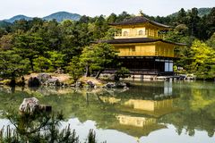 Tempio dorato 1 di Kinkakuji Fotografia Stock Libera da Diritti
