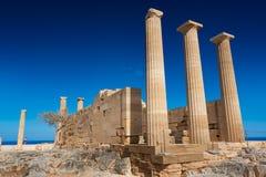 Tempio dorico di Athena Lindia sull'acropoli di Lindos Rodi, Gr Fotografia Stock