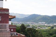 Tempio e punto di vista del cinese tradizionale Fotografia Stock Libera da Diritti