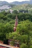 Tempio e punto di vista del cinese tradizionale Fotografia Stock