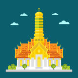 Tempio favoloso di progettazione piana della Tailandia Fotografia Stock