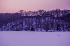 Tempio, foresta e neve Immagini Stock Libere da Diritti