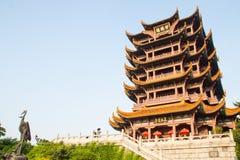 Tempio giallo di Crane Tower a Wuhan, Cina Fotografia Stock Libera da Diritti