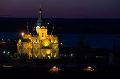 Tempio illuminato Fotografie Stock Libere da Diritti