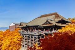 Tempio Kyoto con le foglie di autunno, Giappone di Kiyomizu-dera Fotografia Stock