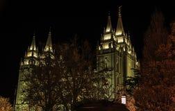 Tempio mormonico durante il Natale Fotografia Stock Libera da Diritti