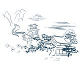 Tempio motore giapponese della carta di schizzo di vettore di simboli tradizionale illustrazione di stock
