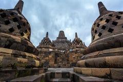 Tempio Yogyakarta di Borobudur Buddist. Java, Indonesia Fotografia Stock