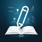 Templ стиля infographics карандаша отрезка бумаги диаграммы книги творческое Стоковое фото RF