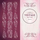 Templa de menu dans le style de vintage Modèle stylisé d'usine Le format vertical de livret, éléments décoratifs verticaux Vin ro Photographie stock libre de droits