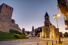 Templar城堡和圣安德烈斯教会在蓬费拉达,西班牙 库存图片