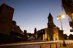 Templar城堡和圣安德烈斯教会在蓬费拉达,西班牙 库存照片