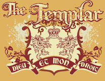 The templar. Vintage old t shirt design Royalty Free Stock Photo