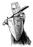 Templar con la spada e lo schermo Immagini Stock