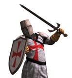 Templar Knight in Battle. A Templar Knight in battle - 3D render Royalty Free Stock Photo