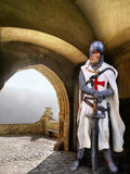 Templar Knight. Standing at the castle gate Stock Images