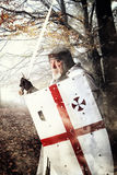 Templar knight. In the woods ready for battle Royalty Free Stock Image