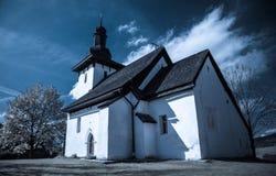 Templar kyrka på byn Martincek, Slovakien Arkivbilder