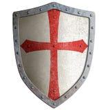 Templar o escudo del metal del caballero del cruzado aislado Fotos de archivo libres de regalías
