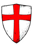Templar shield with a red cross Royalty Free Stock Images