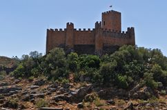 Templar slott av Almourol i Tomar Arkivfoto