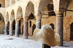 The Templar Tunnel in old city Acre, Akko, and templar architecture, pillars etc royalty free stock images