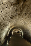 Templar Tunnel in Acco. The Templar tunnel in the old town of Acco, Israel. The Templar tunnel is an underground tunnel residing beneat the town's streets. The Royalty Free Stock Image