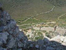 Templariusza kasztel w północnym Cypr, 12th wiek Impregnable forteca budował dziki kamień na niedostępnej skale fotografia stock