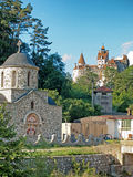 Templars church and Bran castle Royalty Free Stock Photography