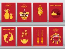 Collection of chinese new year 2019,Craft style,cards,poster,template,greeting cards,animal,dragon,Vector illustrations stock illustration