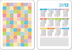 Template of 2012 calendar Stock Images