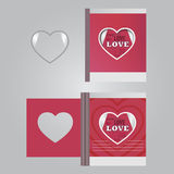 Template. сards with a heart and the words of love Royalty Free Stock Photos