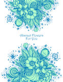 Template with Beautiful abstract flowers bouquet blue on white. Template with abstract flowers bouquet blue on white spring  composition for decoration  package Royalty Free Stock Photos