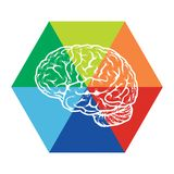 Template with abstract human brain illustration Stock Photography