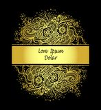 Template with Beautiful abstract marine flowers bouquet in gold on black Stock Photography