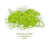 Template with Beautiful abstract marine flowers bouquet in green yellow on white. Template with abstract marine flowers bouquet in green yellow on white for Royalty Free Stock Photos