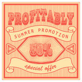 Template advertising banner in retro style of the sixties. Vintage red summer discount sale. Stock Image
