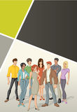 Template for advertising brochure with beautiful young people Stock Photo