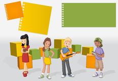 Template for advertising brochure with a group of cartoon young people Stock Photography