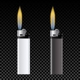 Template for advertising and corporate identity. White and black lighter. Burning fire. illustration. Template for advertising and corporate identity. White and Royalty Free Stock Photography