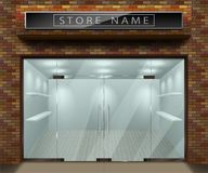 Template for advertising 3d store front facade with red brick. Exterior empty shop or boutique with transparent window vector illustration