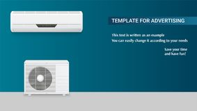 Template with air conditioning for advertisement on horizontal long backdrop, 3D illustration with example of text. Design. Icons of realistic white air Royalty Free Stock Photos