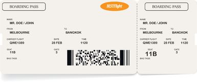 Template of airline boarding pass ticket. Concept of travel, journey or business trip. Isolated on white. Vector illustration royalty free illustration