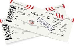 Template of airline boarding pass. Tickets to plane for travel journey. Vector illustration vector illustration