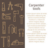 Template articles from carpenter`s tool icons with place for your text. Stock Image