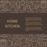 Template articles on home kitchen with space for your text. Vector illustration royalty free illustration