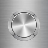 Template for audio control panel with buttons around main button. Template for audio control panel with silver metal texture buttons situated around main button Royalty Free Stock Photos