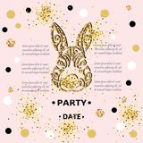 Template for Baby Birthday, Easter Day, party invitation, greeting card, baby shower. Bunny Head isolated on background with golden confetti. Rabbit head as royalty free illustration