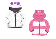 Template of baby front zip hood padded jacket design Royalty Free Stock Images