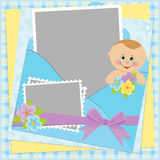 Template for baby's photo album Stock Photos